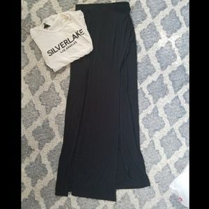 Forever 21 high slit maxi skirt, black
